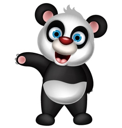 cute panda cartoon presenting vector image