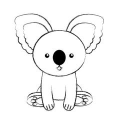 cute sketch draw koala cartoon vector image