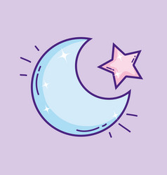 cutem moon with star vector image
