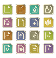 Documents icons set vector