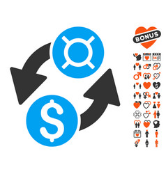 Dollar currency exchange icon with love bonus vector
