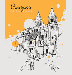drawing sketch conques village in aveyron vector image