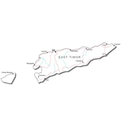 East Timor Black White Map vector image