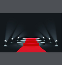 Empty round podium with red carpet illuminated by vector