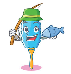fishing feather duster character cartoon vector image