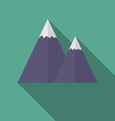 Flat design modern of snow caped mountain icon vector
