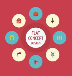 flat icons landscape vegetable radish vector image