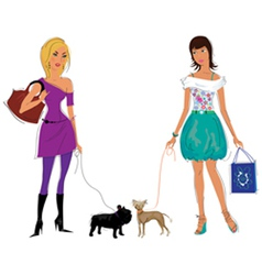 Girls with dogs vector image