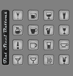 glasses and cups simply icons vector image