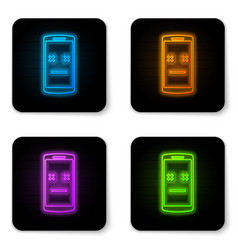 glowing neon dead phone icon isolated on white vector image
