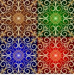Golden Flower Tile Background vector image