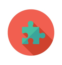 Green Puzzle Flat Icon over Red vector