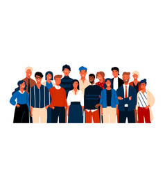 Group portrait funny smiling office workers or vector