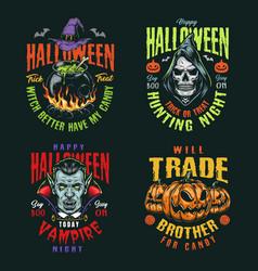 Halloween night vintage colorful badges vector