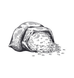 Hand drawn bag with wheat black and white sketch vector