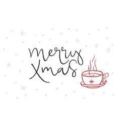 hand lettering greeting merry xmas text vector image