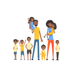 happy black family with many children portrait all vector image
