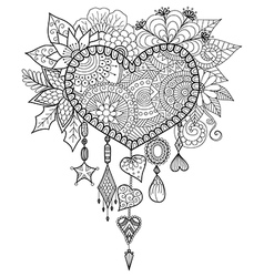 Heart shape dream catcher vector