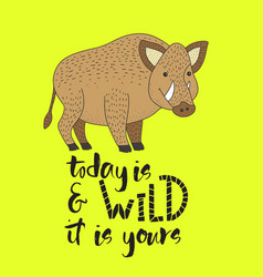 hipster card with a wild boar vector image