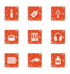 host icons set grunge style vector image