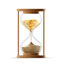 Hourglass with sand and gold coins bankruptcy and vector