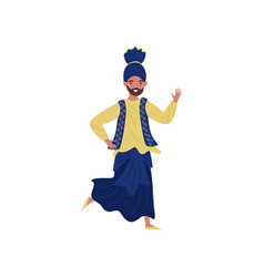 indian man dancing in traditional clothes vector image
