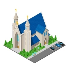 Isometric Christian Catholic Church Building vector image
