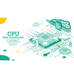 isometric cpu computer technology big data vector image