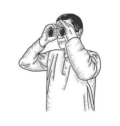 Man looking through binoculars sketch vector