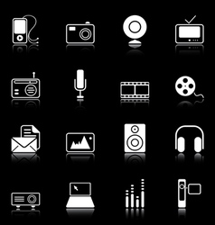 Mass media icons vector