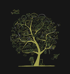 Military tree sketch for your design gift card vector