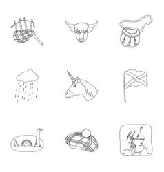 National symbols of scotland scottish attractions vector