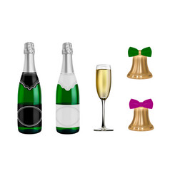 new year champagne the bell is golden in th vector image