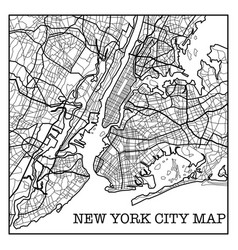 new york city white map vector image