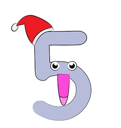 Number Five Christmas Cartoon vector image