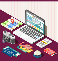 Online booking isometric design concept vector