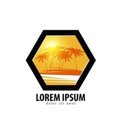 palm trees logo design template tropics vector image