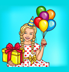Pop art smiling little girl holding a gift vector