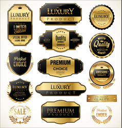Premium and luxury golden retro badges and labels vector