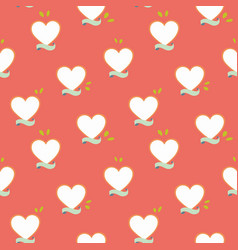 Red pattern with heart and banner vector
