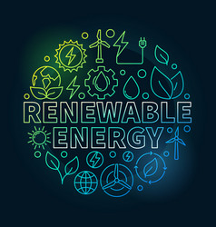 Renewable energy round colorful vector