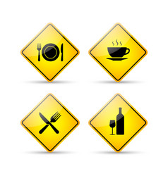 Restaurant road signs vector image