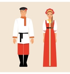 Russian men and women in national costumes vector
