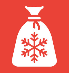 santa bag glyph icon new year and christmas vector image vector image