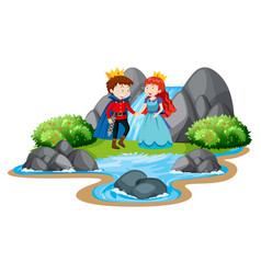 scene with prince and princess waterfall vector image