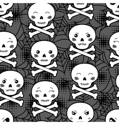 Seamless halloween kawaii cartoon pattern with vector image