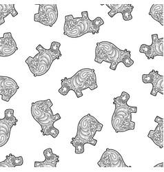 seamless pattern background hippo zen vector image