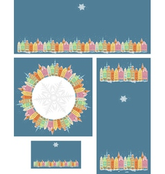 Set of Christmas cards with snowy old town vector