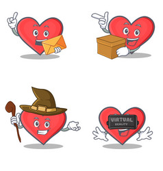 set of heart character with envelope box witch vector image