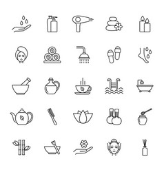 set spa line icons vector image
